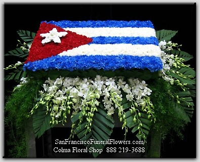 Cuban Flag Casket floral tribute