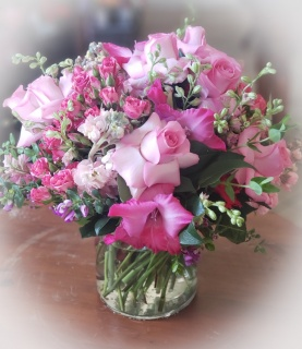 Pink and lush arrangement