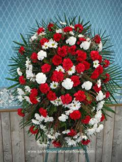 Red and White Carnation Standing Spray